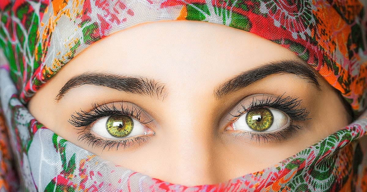 Eyes of a Muslim Woman Wrapped in a Hijab Featured