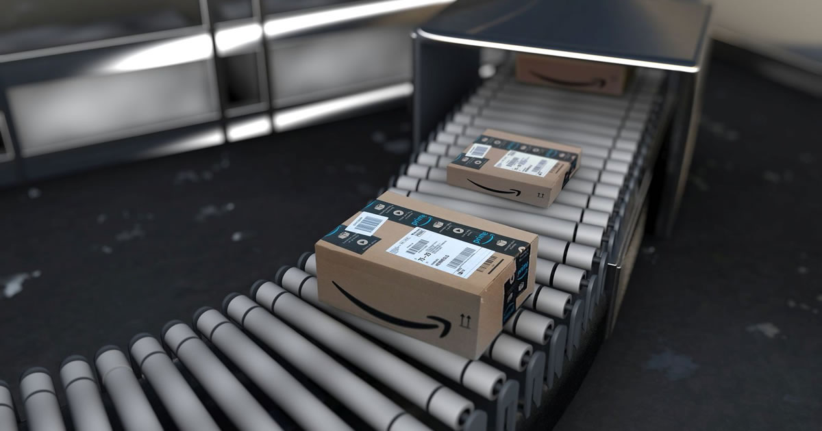 Amazon Boxes Rolling Down a Conveyor Belt Featured