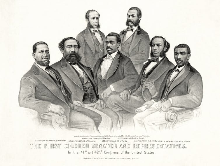 Black and white portrait of the first African American members of Congress