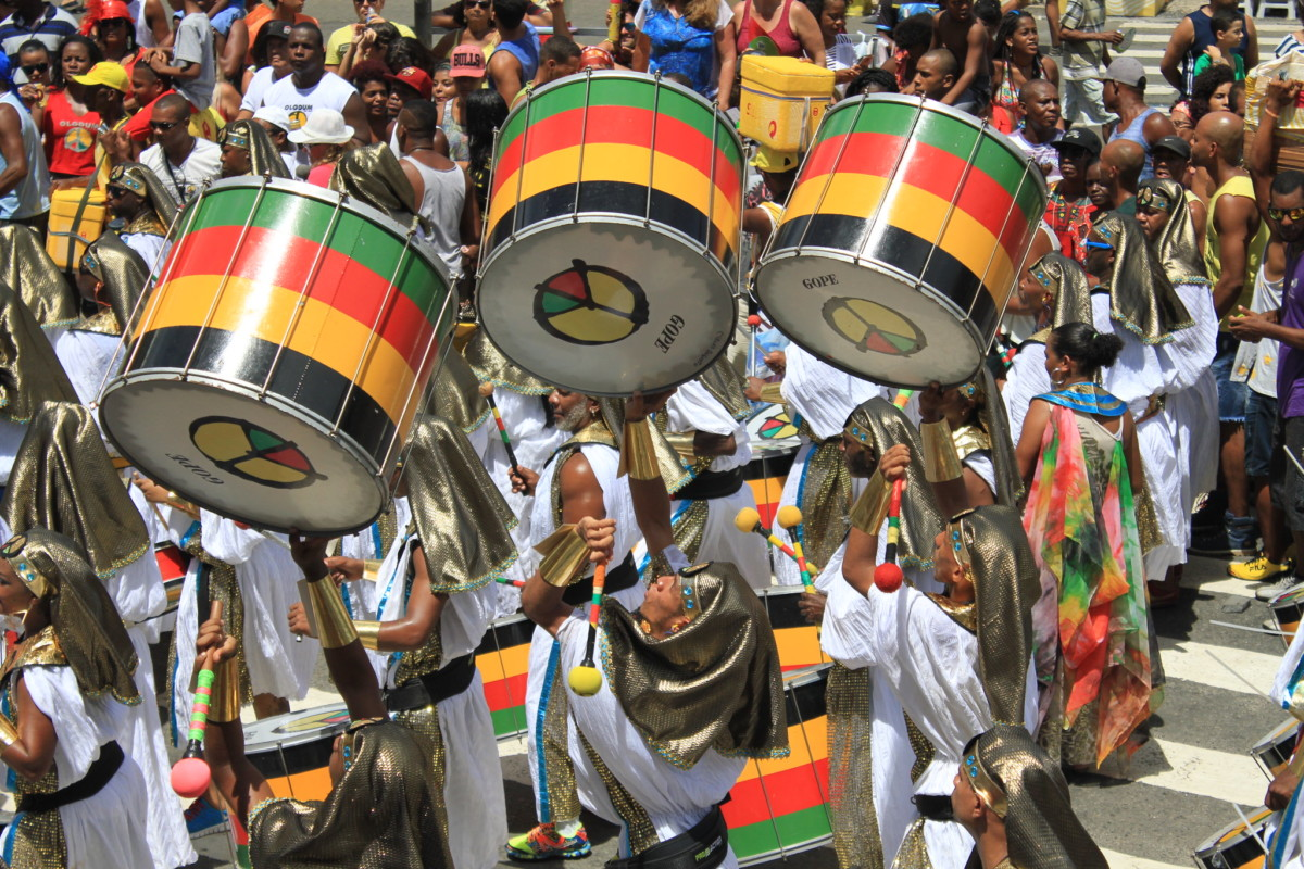 Olodum, an iconic Afro-Brazilian drumming group, performs during Carnival (Anti-black  racism)